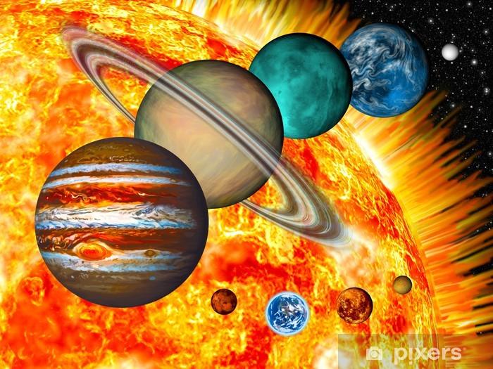 Papier peint vinyle Système solaire: la taille comparée des planètes et le Soleil. - Destin