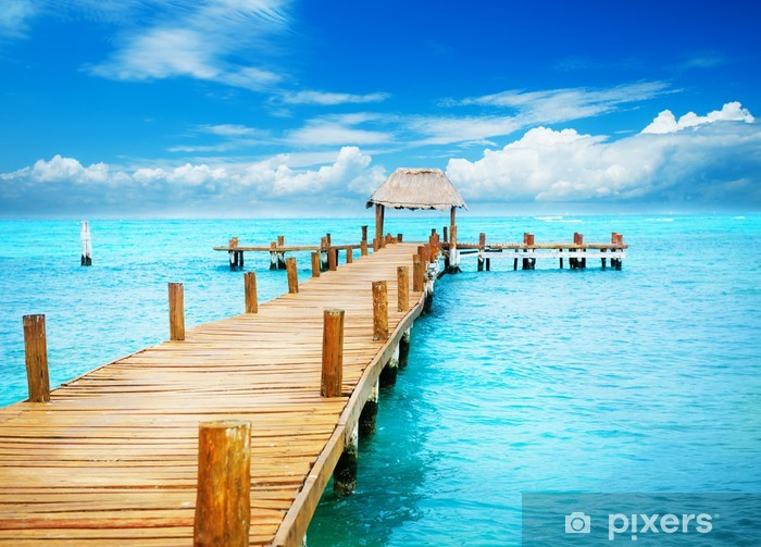 Vacation in Tropic Paradise. Jetty on Isla Mujeres, Mexico Pixerstick Sticker - Themes