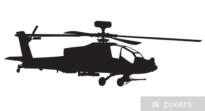 AH-64 Apache Longbow helicopter silhouette Self-Adhesive Wall Mural - Wall decals