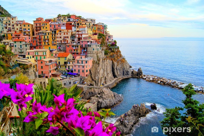 Sticker Pixerstick Côte des Cinque Terre en Italie avec des fleurs - Thèmes