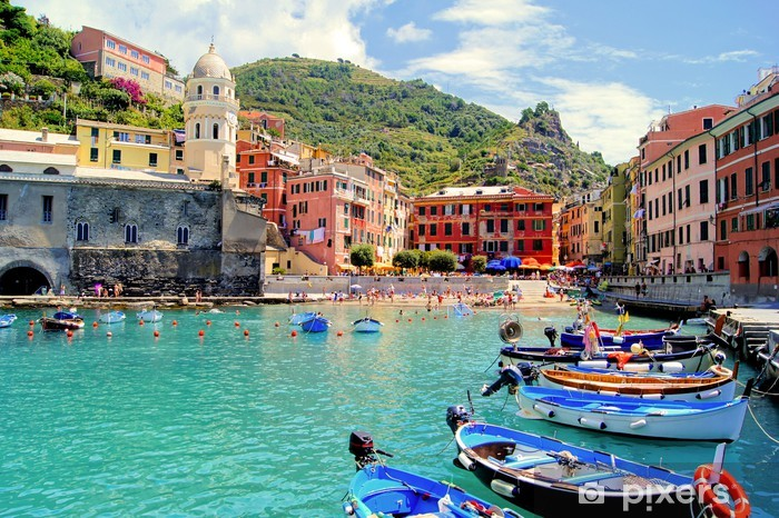 Colorful harbor at Vernazza, Cinque Terre, Italy Vinyl Wall Mural - Themes