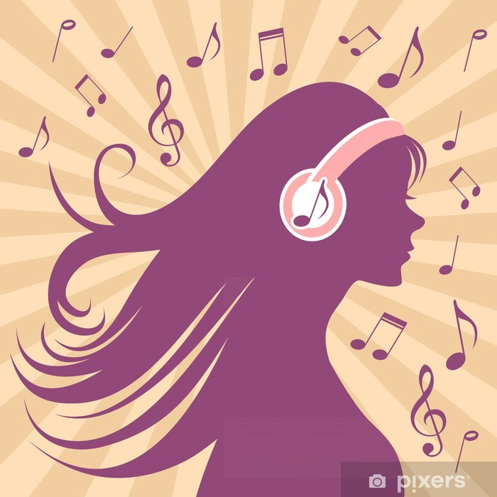 Girl silhouette with headphones, long hair and music Pixerstick Sticker - Entertainment
