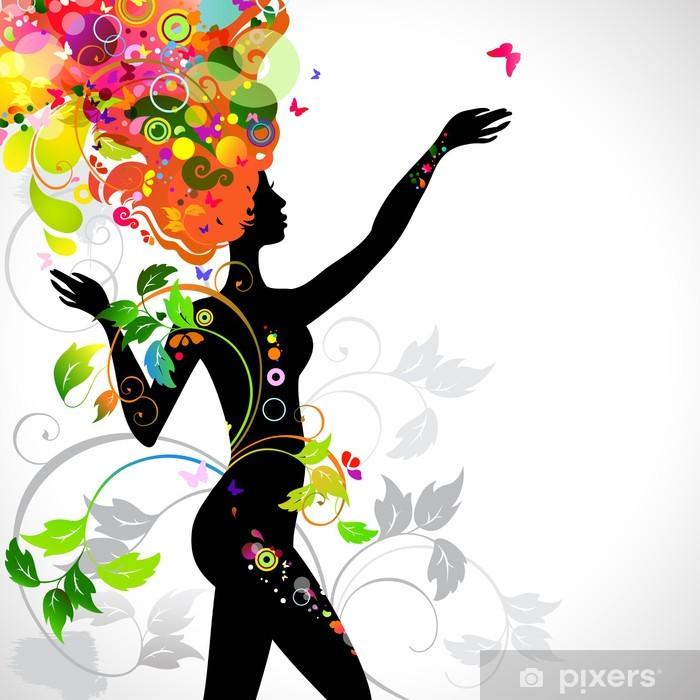 Pixerstick Aufkleber Sommer dekorative Komposition mit Mädchen - Fashion