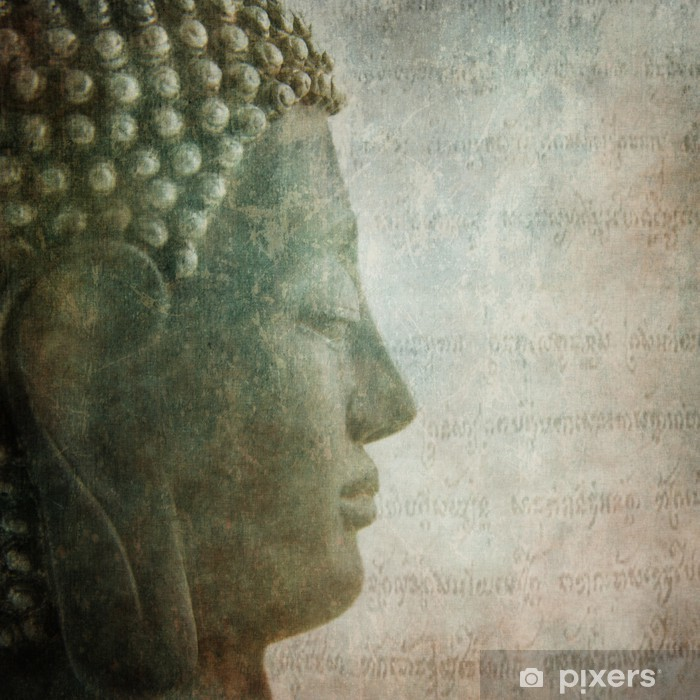 Pixerstick Sticker Boeddha grunge stijl achtergrond - Thema's