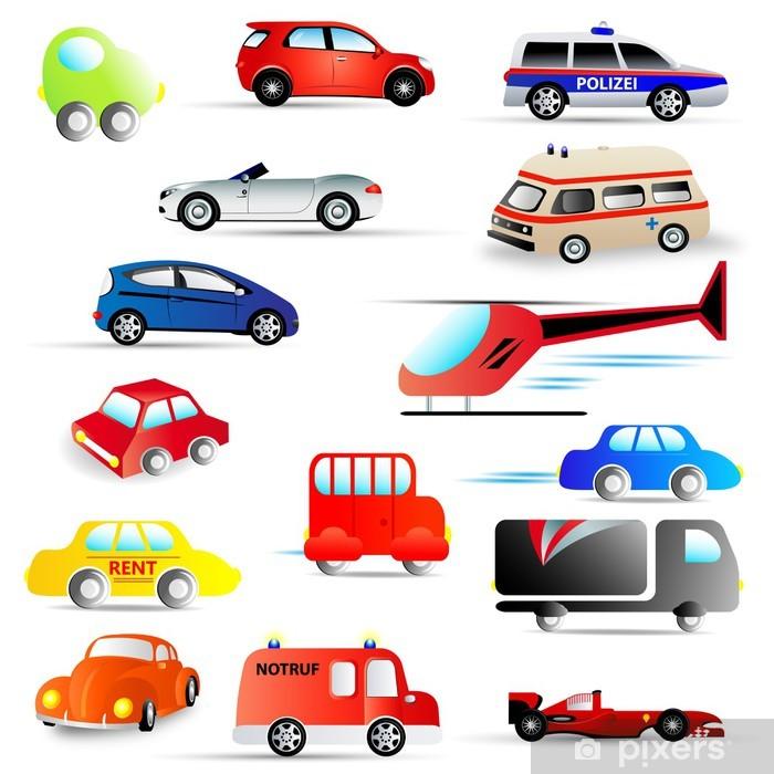 Sticker Pixerstick Kraftfahrzeuge - ensemble - Sur la route