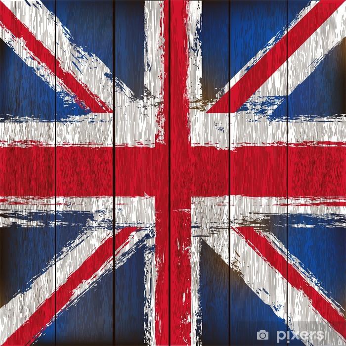 Papier peint vinyle Union Jack sur un fond en bois planches - Planches