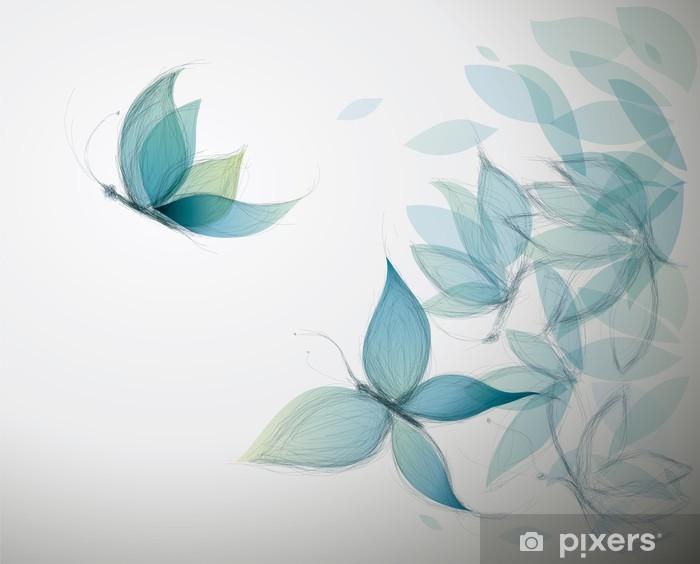 Fototapeta winylowa Lazurowe kwiaty jak motyle / szkic surrealistyczne - Style
