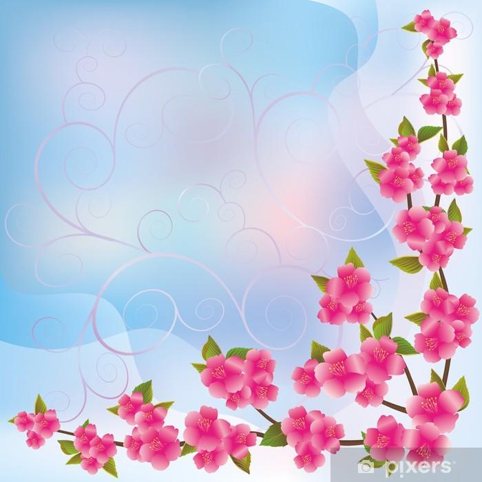 Plakat Tło z sakura kwiaty oddziału, japoński Wiśniowe drzewo - Pory roku