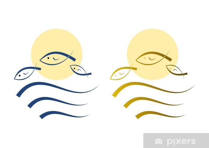 Aufkleber Fische Symbol Christentum Tierkreiszeichen Pixerstick
