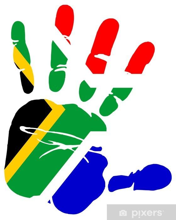 Vinilo Pixerstick Impresión de la mano la bandera de Sudáfrica - África