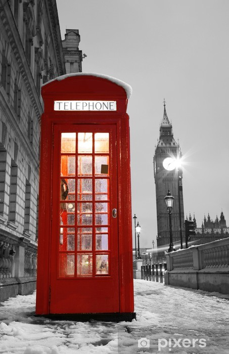 Vinil Duvar Resmi Londra Telefon Booth ve Big Ben -