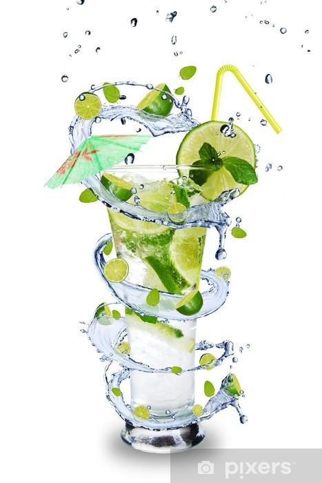 Sticker Pixerstick Frais boisson mojito avec spirale éclaboussures autour d'un verre. - Sticker mural