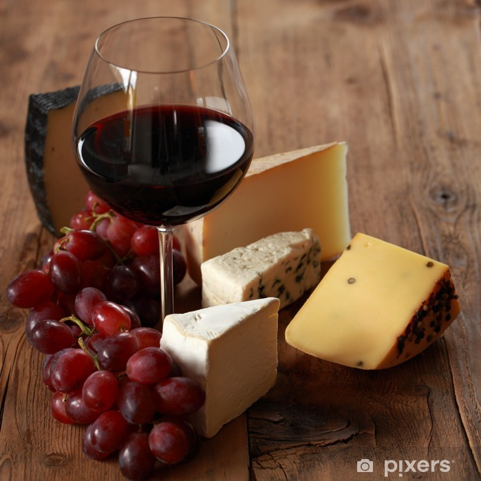 Rotwein mit verschiedenen Käsesorten Vinyl Wall Mural - Cheeses