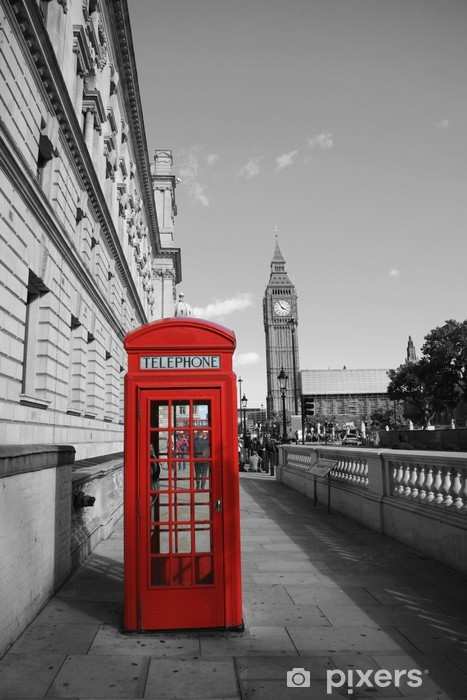 Big Ben and Red Phone Booth Vinyl Wall Mural - Themes
