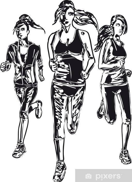 Fototapeta Szkic kobiety maratończyków. Ilustracji wektorowych • Pixers® -  Żyjemy by zmieniać