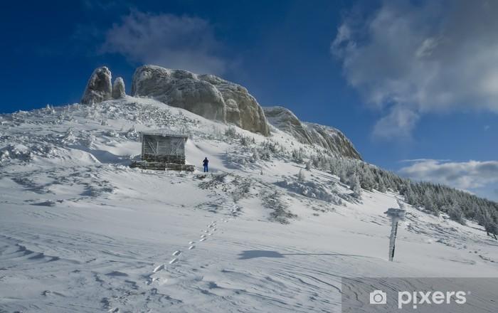 Sticker Pixerstick Montagne Ceahlau, Carpates roumaines en hiver - Saisons
