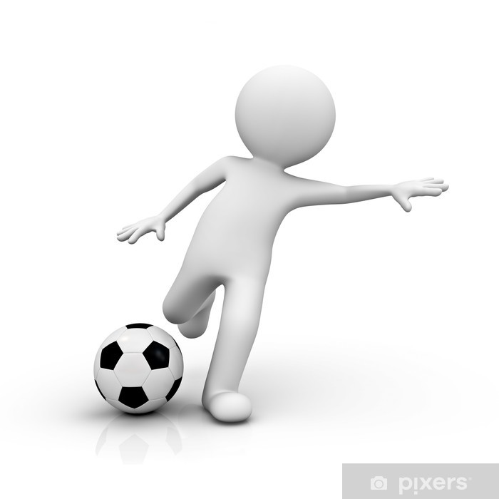 3d render man playing soccer Poster - Signs and Symbols