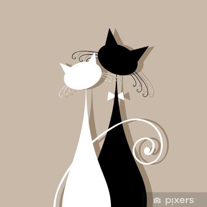 Fotomural Estándar Pareja gatos juntos, silueta para su diseño - Mamíferos