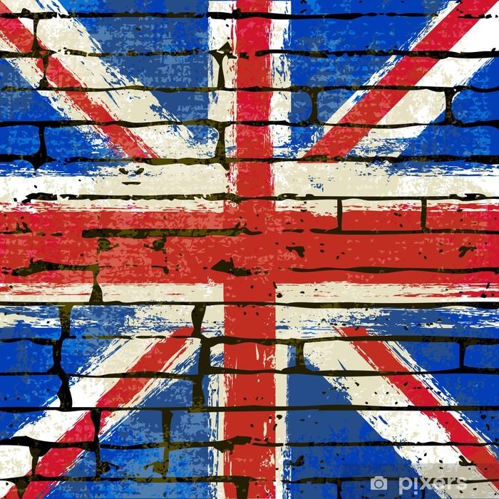 Sticker Pixerstick Union Jack sur un fond de mur de briques - Thèmes