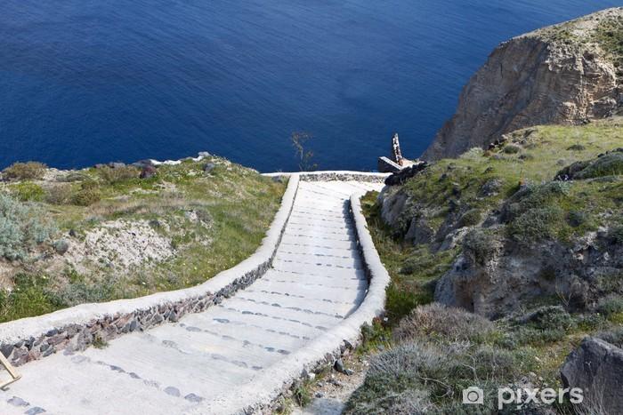 The volcanic caldera at Santorini island in Greece Vinyl Wall Mural - Europe