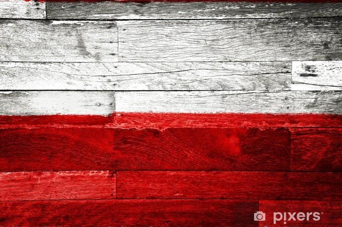 Fototapete Polen Flagge Auf Alten Holz Gemalt Pixers Wir