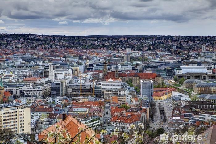 Vinyl-Fototapete Panorama der Stadt Stuttgart in Deutschland - Stadt