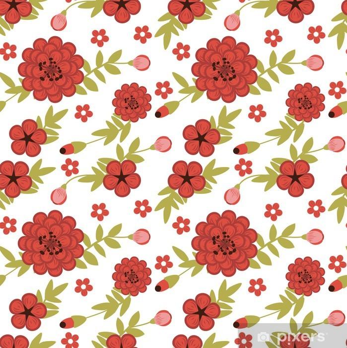 Plakat Jednolite wzór kobiecy wyposażony ogród z czerwonymi kwiatami - iStaging 2