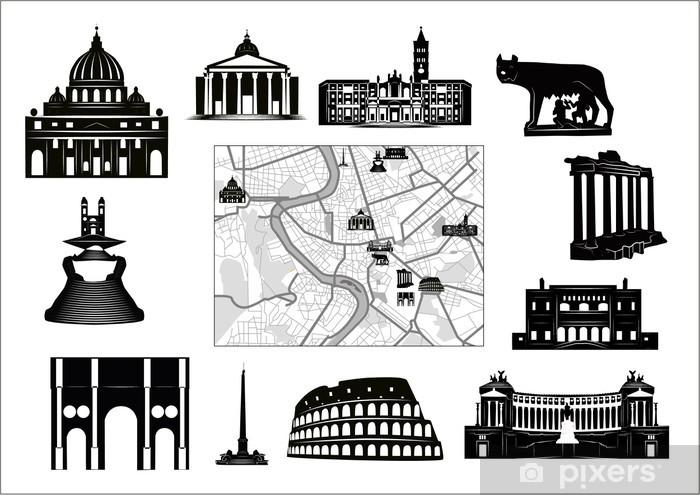 Carta Da Parati Caratteristiche.Carta Da Parati In Vinile Roma In Bianco E Nero Mappa E Caratteristiche