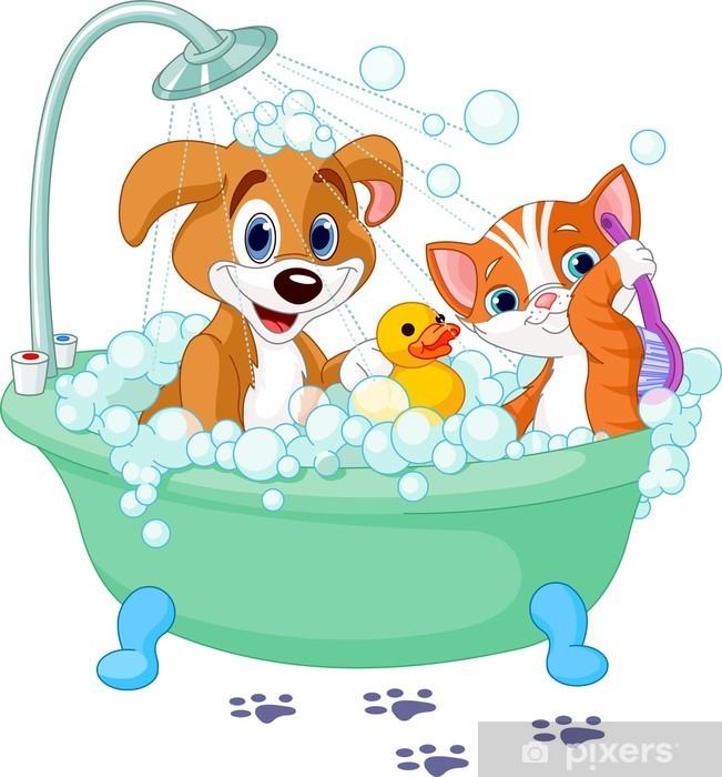 Fotomural perro y gato que tiene un ba o pixers - Fotomurales para banos ...