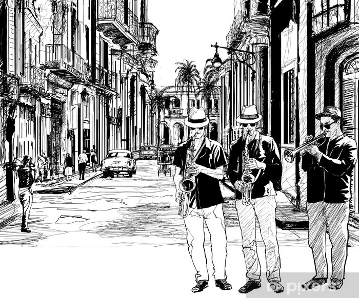 Vinyl Fotobehang Jazz band in cuba - jazz