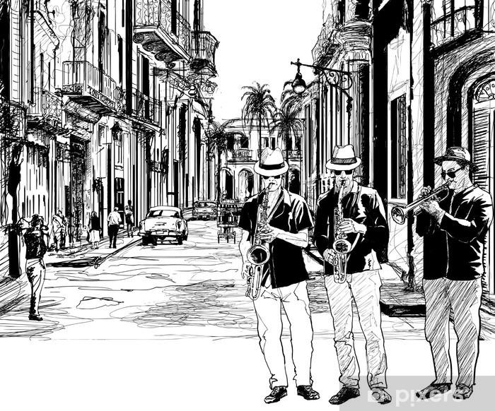 Papier peint vinyle Groupe de jazz à Cuba - Jazz