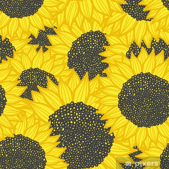 color seamless sunflower pattern. Vector illustration Pixerstick Sticker - Themes