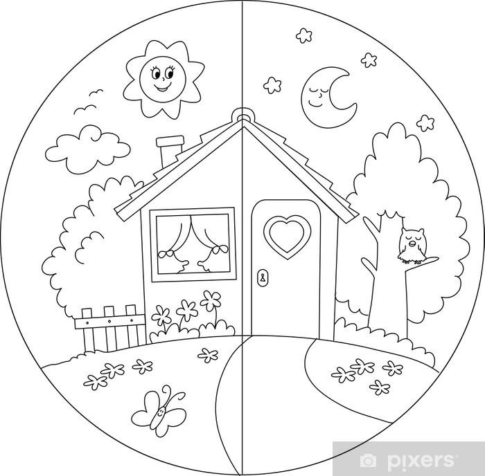 Kleurplaten Huis En Tuin.Fotobehang Landhuis Dag En Nacht Kleurplaat Voor Kinderen Pixers