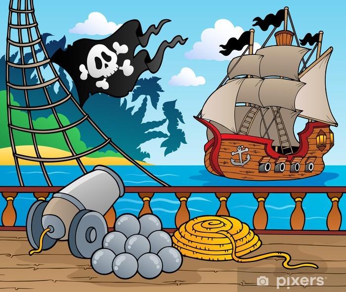 Fotomural Estándar Barco pirata baraja tema 4 - Destinos