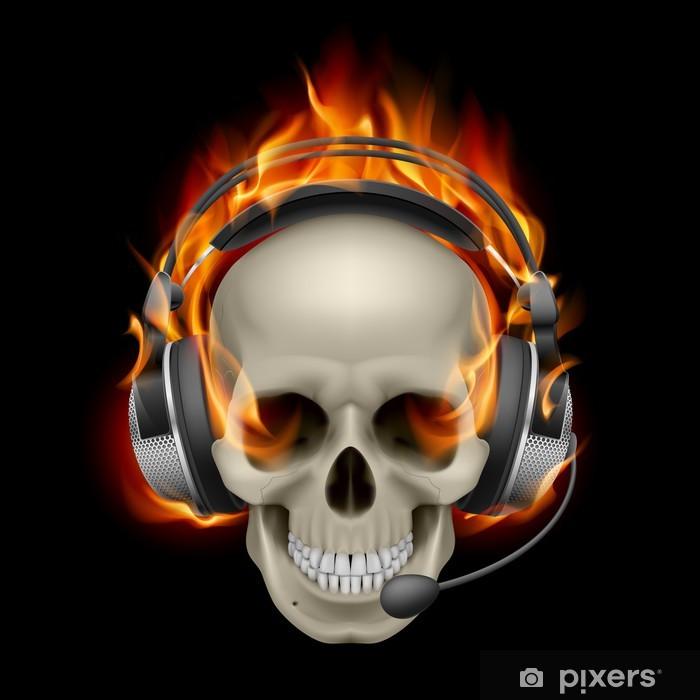 Vinilo Pixerstick Cráneo llameante con los auriculares - Texturas
