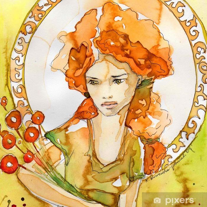 Papier peint vinyle Art Nouveau portrait - Maisons et jardins