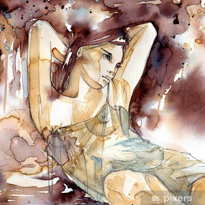 Poster Donna con le mani dietro la testa - Per parrucchiere