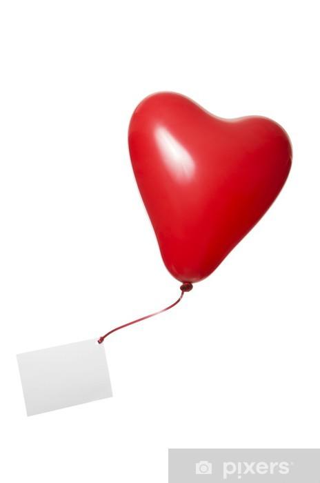 Vinyl-Fototapete Roter Herzluftballon mit Grußkarte an Geschenkband - Fröhlichkeit