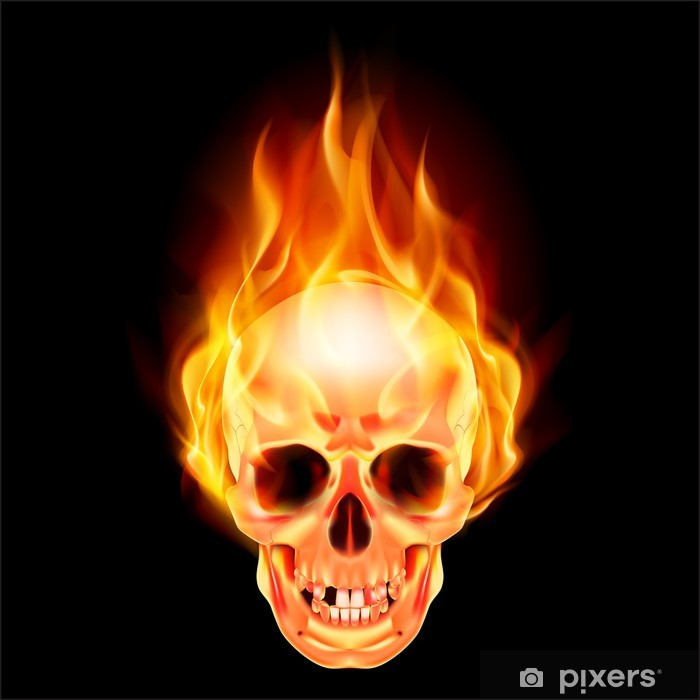 Scary skull on fire Self-Adhesive Wall Mural - Signs and Symbols