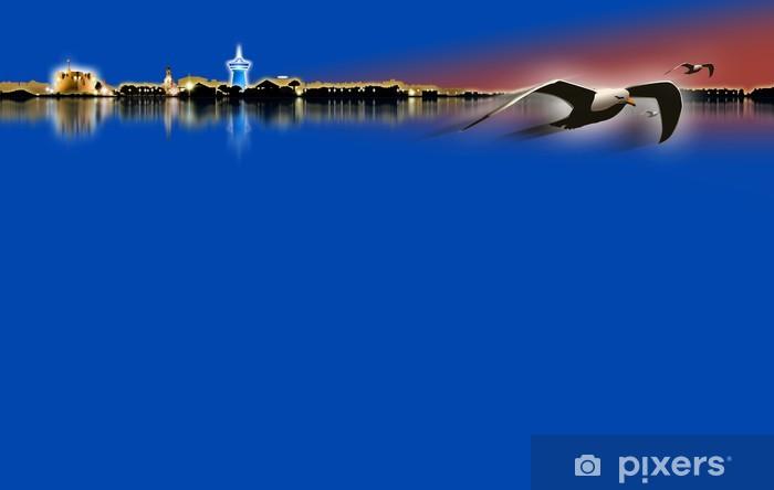 Papier peint vinyle Silhouette ville Palavas Les Flots - Eau
