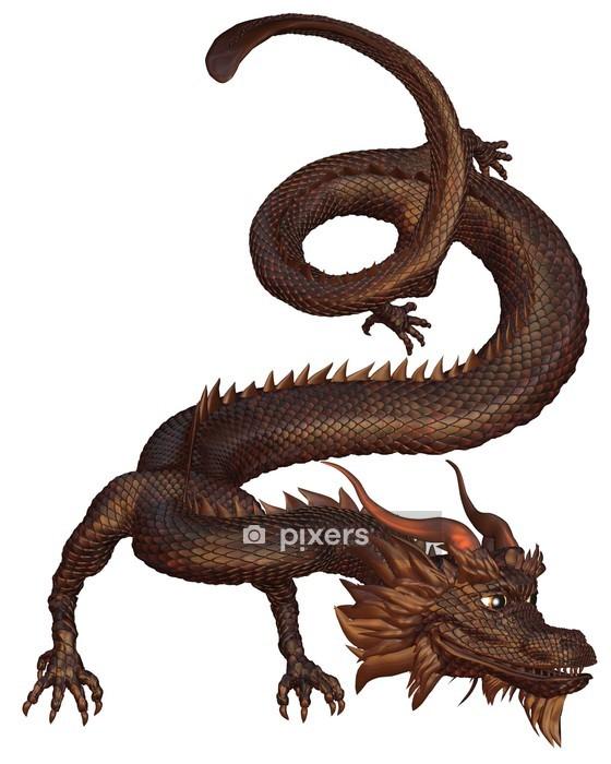 Naklejka na ścianę Chiński Smok z brązowych łusek metalowych - Naklejki na ścianę