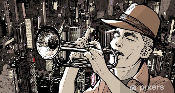 Pixerstick Sticker Trompettist op een stadsgezicht achtergrond - jazz