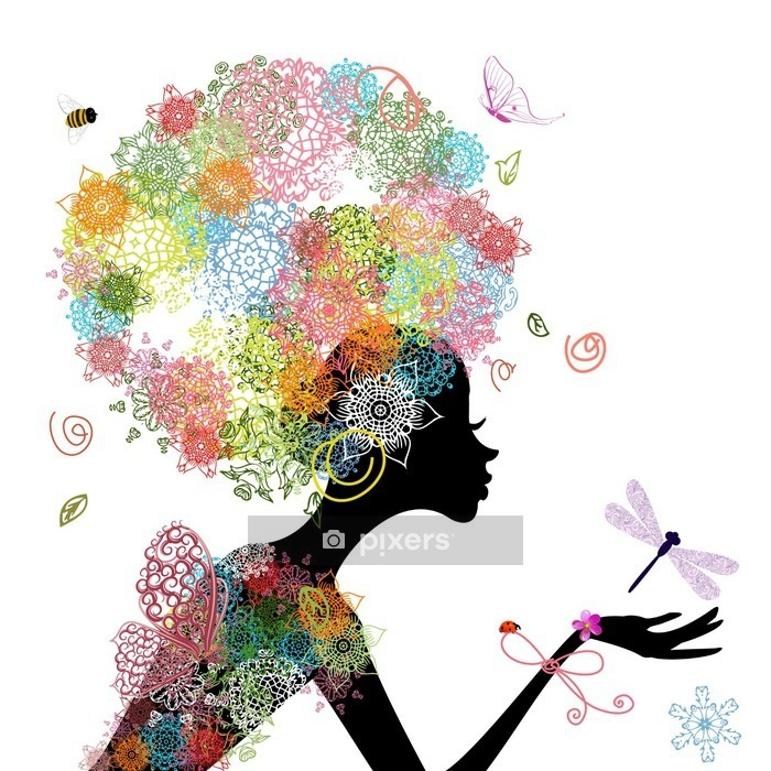 Fashion girl with hair arabesque Wall Decal - Wall decals