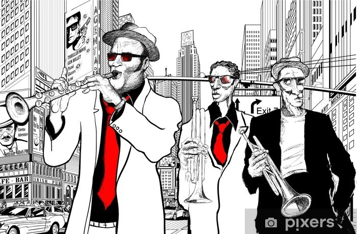 Vinilo Pixerstick Banda de jazz en una calle de Nueva York - Jazz