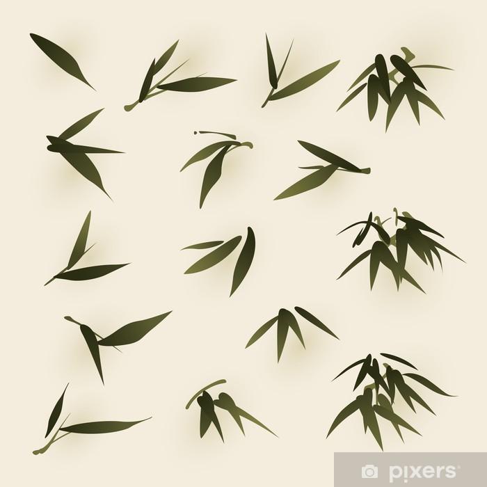 Oryantal Stili Boyama Bambu Yaprakları Duvar Resmi Pixers