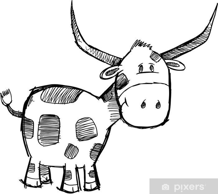 Carta da Parati in Vinile Pippo Sketch Bull Cattle Vector Animal - Animale