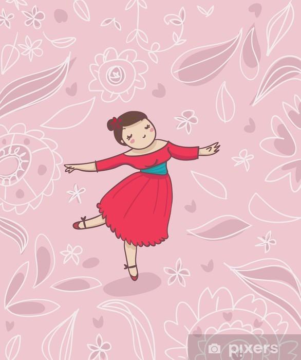 Carta da parati ballerina su sfondo decorato pixers for Carta parati vinile