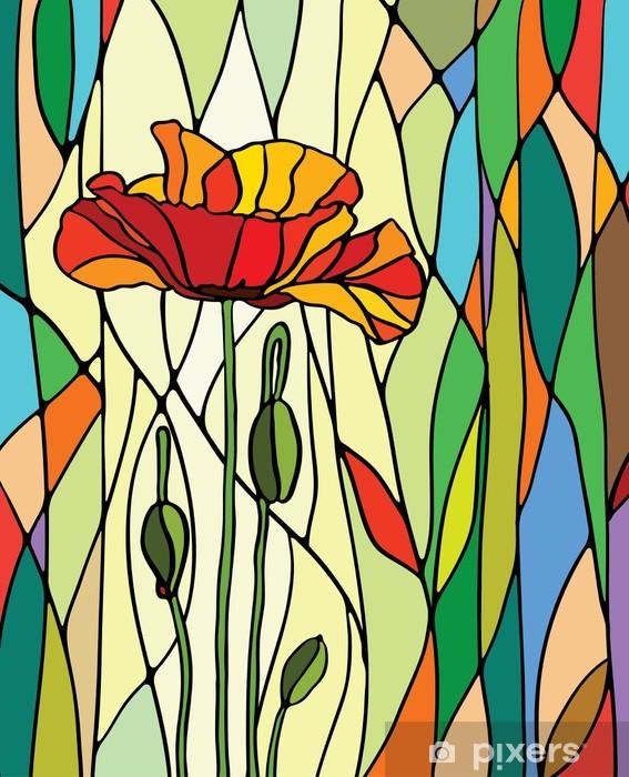Pixerstick Sticker Bloemen gebrandschilderd glas -