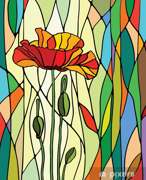 floral stained glass Pixerstick Sticker -