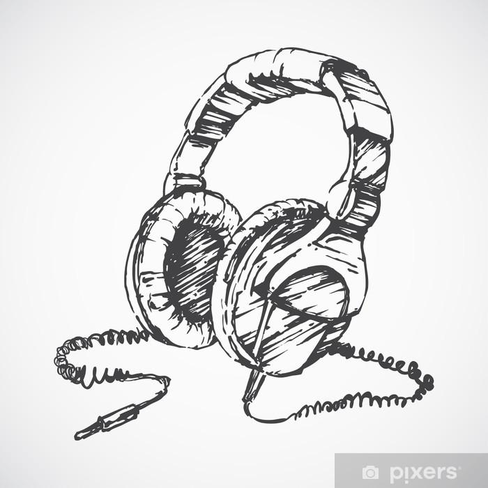 Fototapet Skissade hörlurar • Pixers® - Vi lever för förändring bfc7782f55104